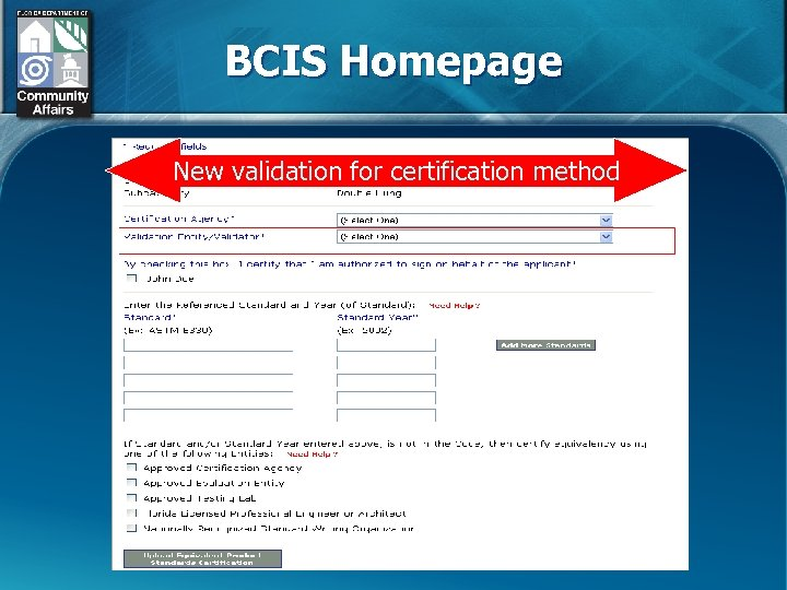 BCIS Homepage New validation for certification method