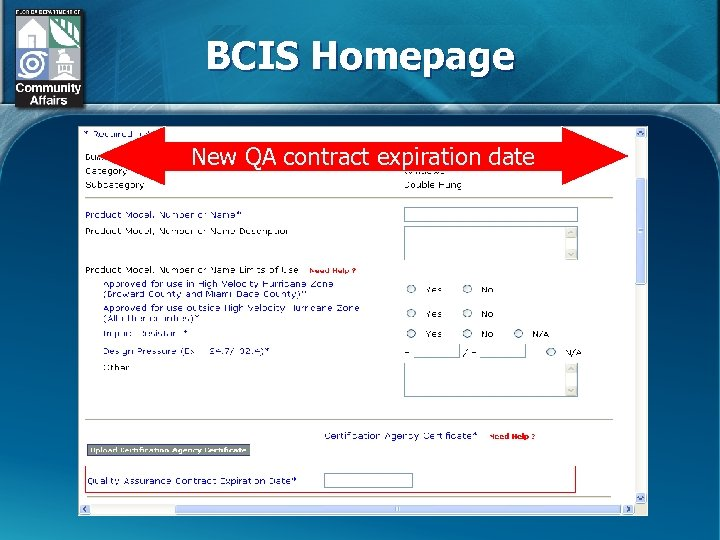 BCIS Homepage New QA contract expiration date