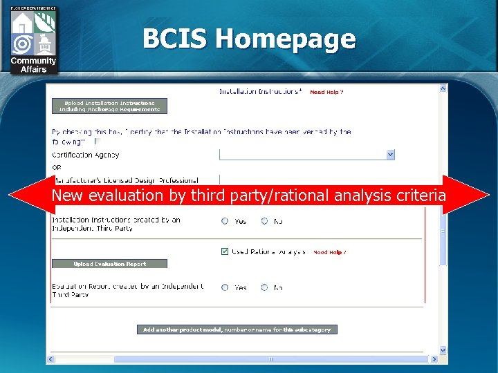BCIS Homepage New evaluation by third party/rational analysis criteria