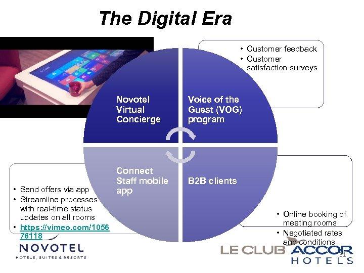 The Digital Era • Customer feedback • Customer satisfaction surveys Novotel Virtual Concierge •
