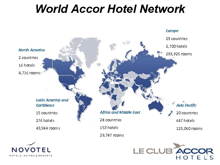 World Accor Hotel Network Europe 29 countries 2, 700 hotels North America 293, 925