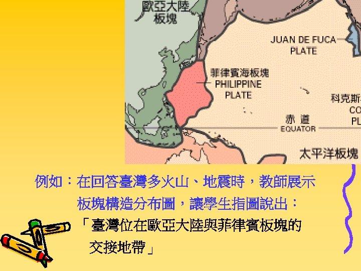 例如:在回答臺灣多火山、地震時,教師展示 板塊構造分布圖,讓學生指圖說出: 「臺灣位在歐亞大陸與菲律賓板塊的 交接地帶」