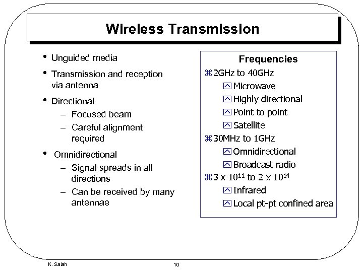 Wireless Transmission • • Unguided media • Directional – Focused beam – Careful alignment