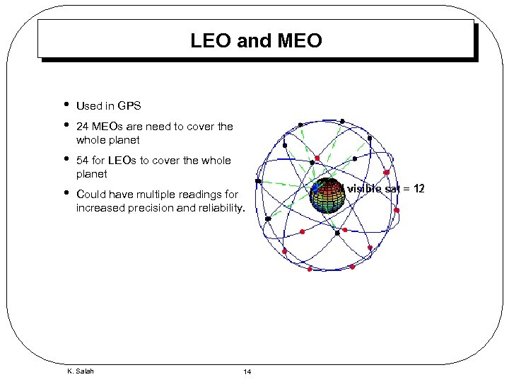 LEO and MEO • • Used in GPS • 54 for LEOs to cover