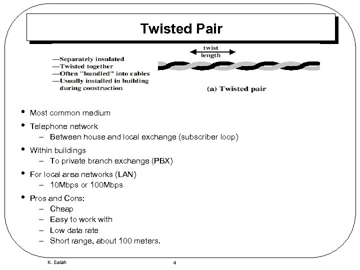 Twisted Pair • • Most common medium • Within buildings – To private branch