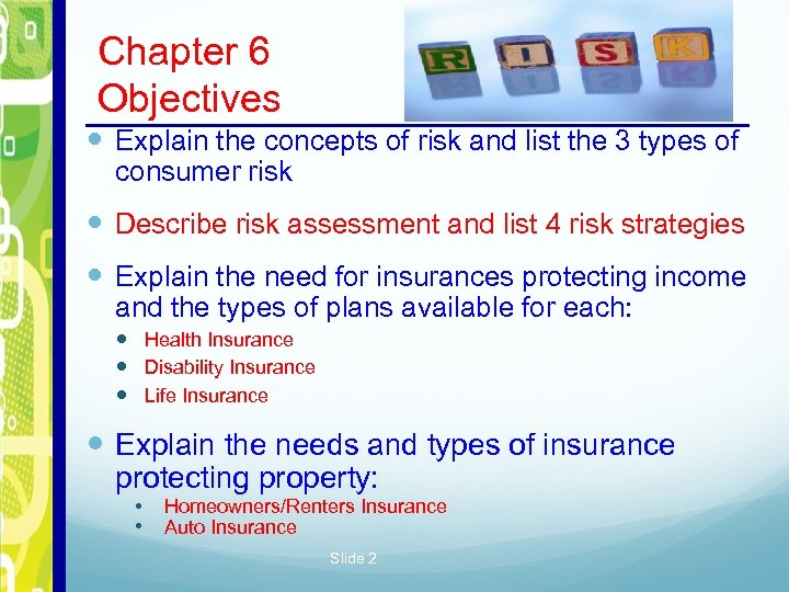 Chapter 6 Personal Risk Management Chapter 6