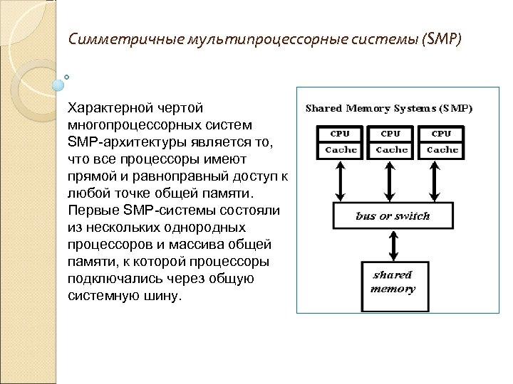 Симметричные мультипроцессорные системы (SMP) Характерной чертой многопроцессорных систем SMP-архитектуры является то, что все процессоры
