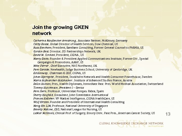 Join the growing GKEN network Catharina Maulbecker Armstrong , Associate Partner, Mc. Kinsey, Germany