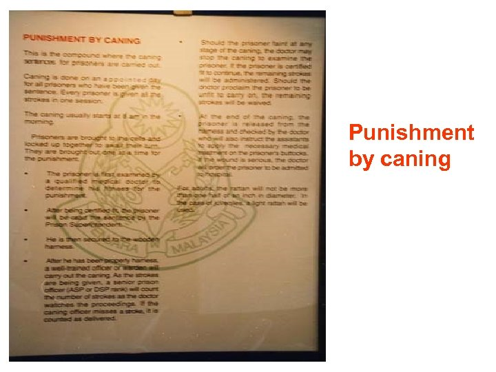 Punishment by caning