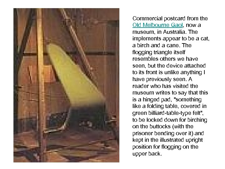 Commercial postcard from the Old Melbourne Gaol, now a museum, in Australia. The implements