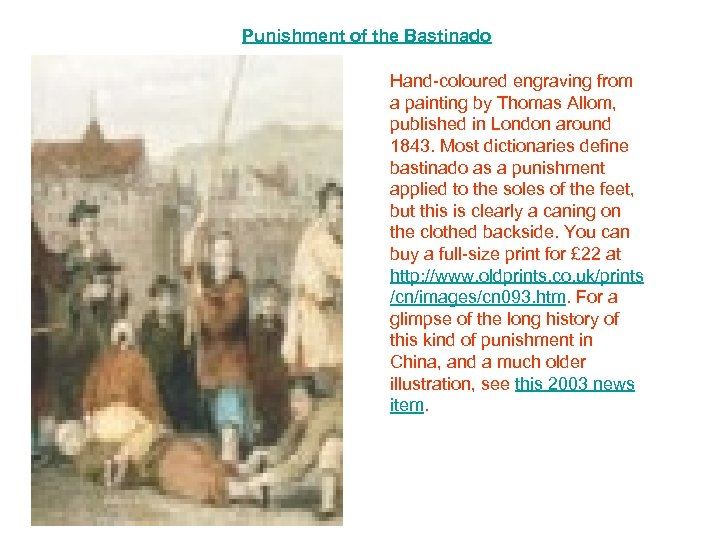 Punishment of the Bastinado Hand-coloured engraving from a painting by Thomas Allom, published in