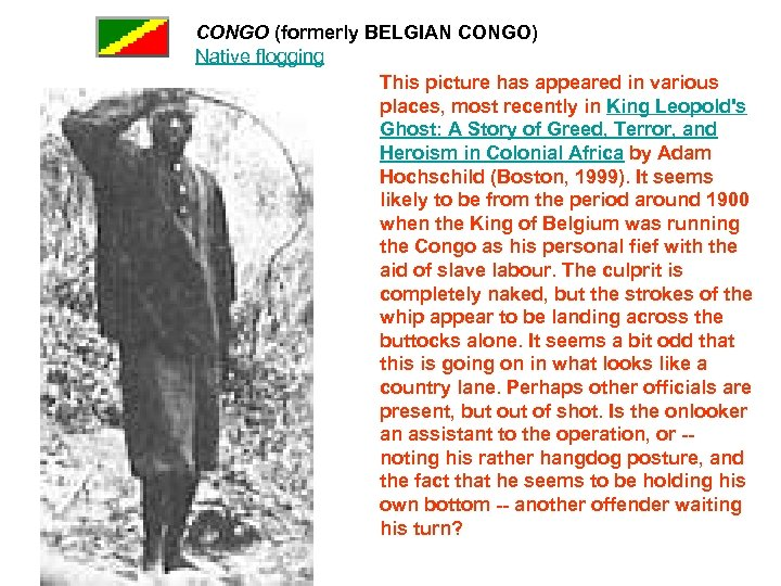 CONGO (formerly BELGIAN CONGO) Native flogging This picture has appeared in various places, most