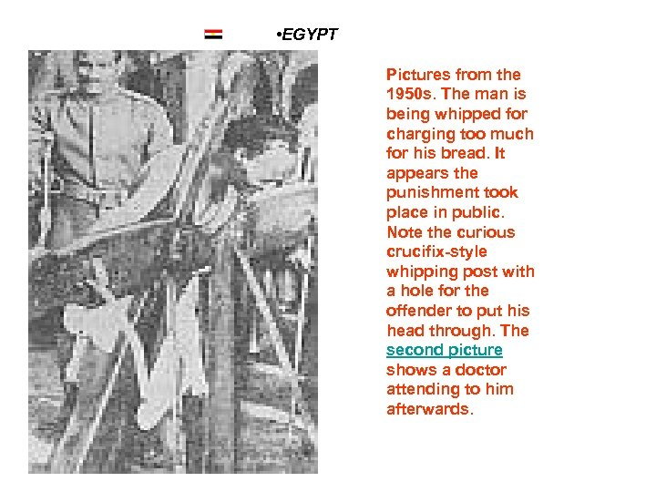 • EGYPT Pictures from the 1950 s. The man is being whipped for