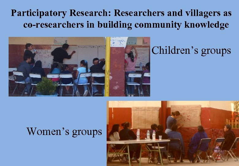 Participatory Research: Researchers and villagers as co-researchers in building community knowledge Children's groups Women's