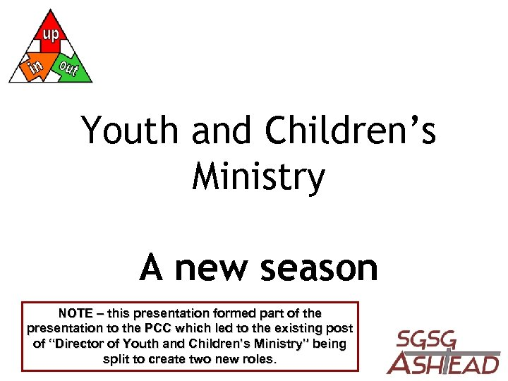 Youth and Children's Ministry A new season NOTE – this presentation formed part of
