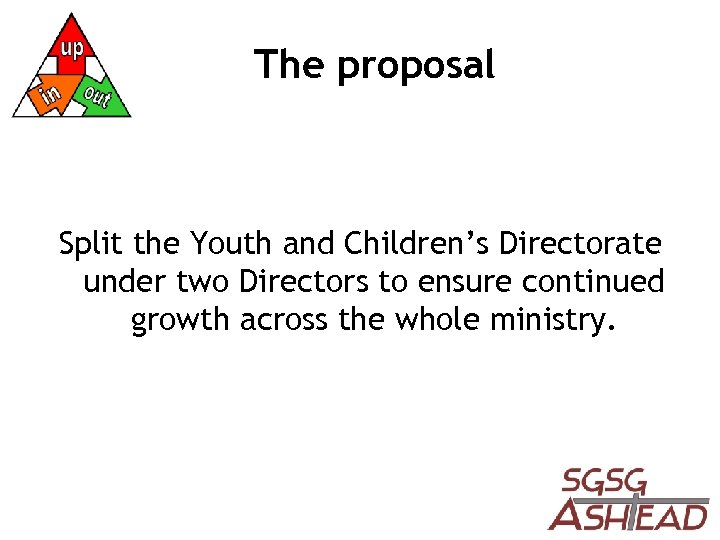 The proposal Split the Youth and Children's Directorate under two Directors to ensure continued