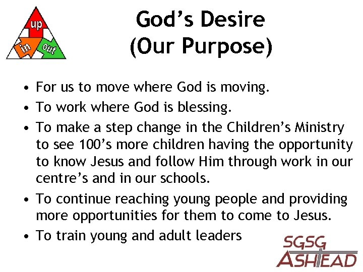 God's Desire (Our Purpose) • For us to move where God is moving. •