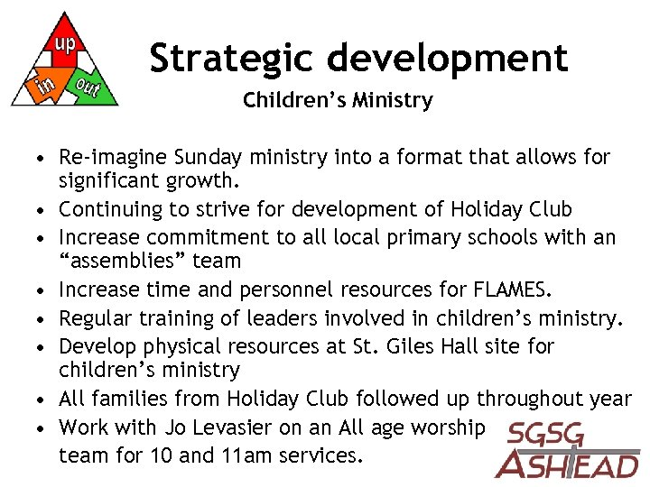 Strategic development Children's Ministry • Re-imagine Sunday ministry into a format that allows for