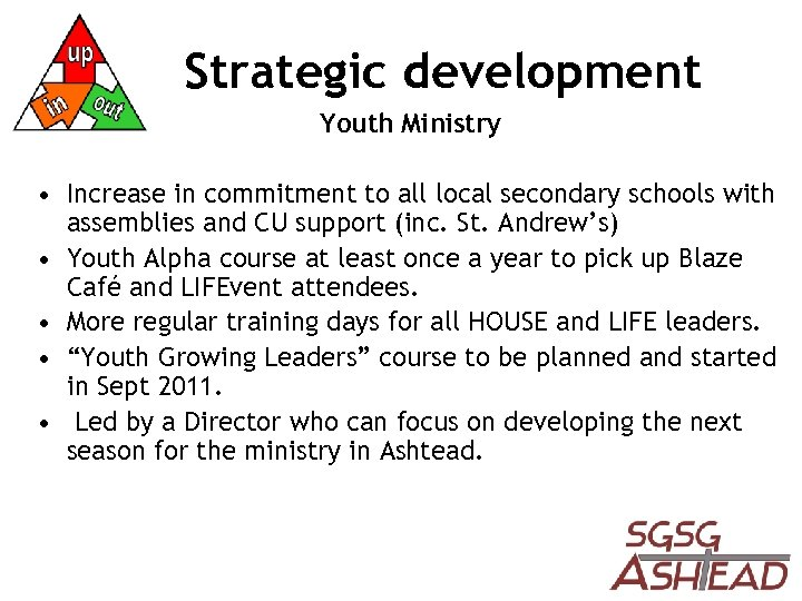 Strategic development Youth Ministry • Increase in commitment to all local secondary schools with