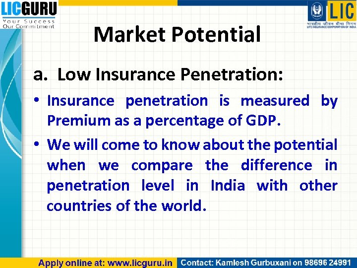 Market Potential a. Low Insurance Penetration: • Insurance penetration is measured by Premium as