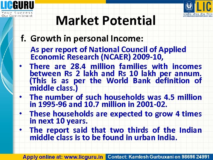 Market Potential f. Growth in personal Income: • • As per report of National