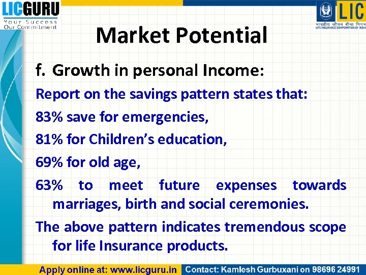 Market Potential f. Growth in personal Income: Report on the savings pattern states that: