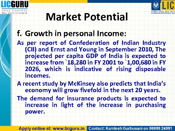 Market Potential f. Growth in personal Income: As per report of Confederation of Indian