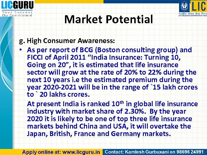 Market Potential g. High Consumer Awareness: • As per report of BCG (Boston consulting