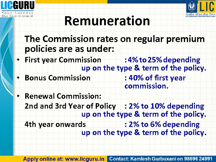 Remuneration The Commission rates on regular premium policies are as under: • First year