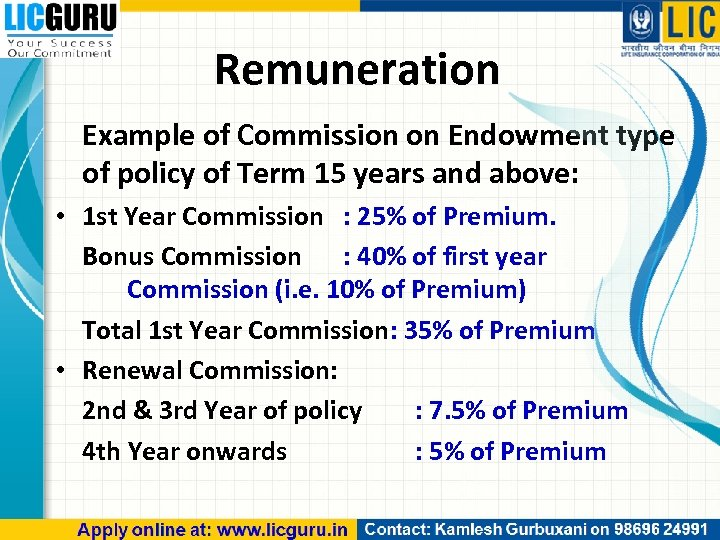 Remuneration Example of Commission on Endowment type of policy of Term 15 years and