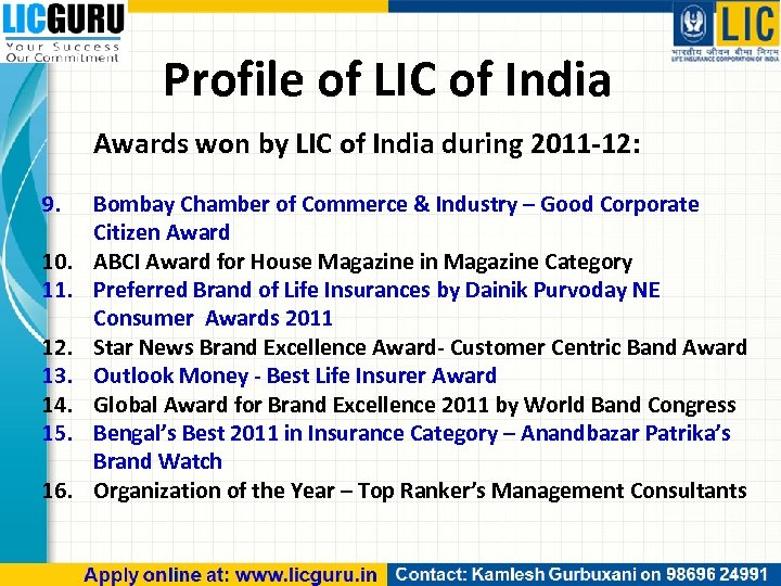 Profile of LIC of India Awards won by LIC of India during 2011 -12: