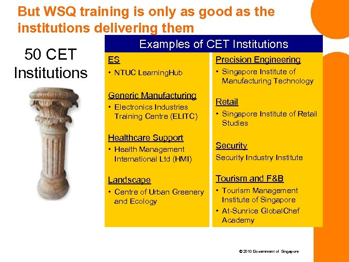 But WSQ training is only as good as the institutions delivering them 50 CET