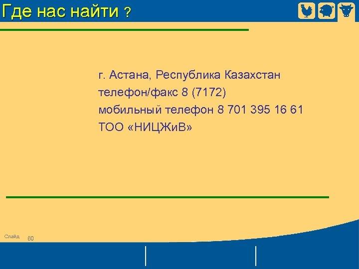 Где нас найти ? г. Астана, Республика Казахстан телефон/факс 8 (7172) мобильный телефон 8