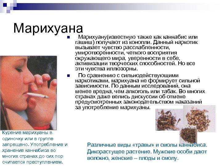 Марихуана Марихуану(известную также как каннабис или n n Курение марихуаны в одиночку или в