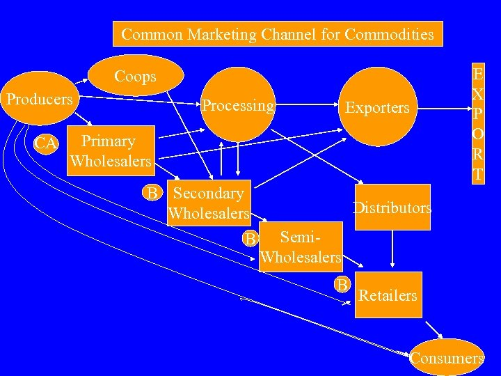 Common Marketing Channel for Commodities Coops Producers CA Processing Exporters Primary Wholesalers B Secondary