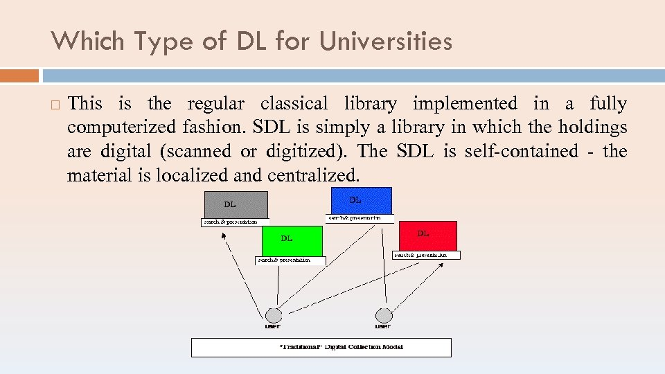 Which Type of DL for Universities This is the regular classical library implemented in