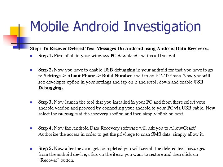 Mobile Android Investigation Steps To Recover Deleted Text Messages On Android using Android Data