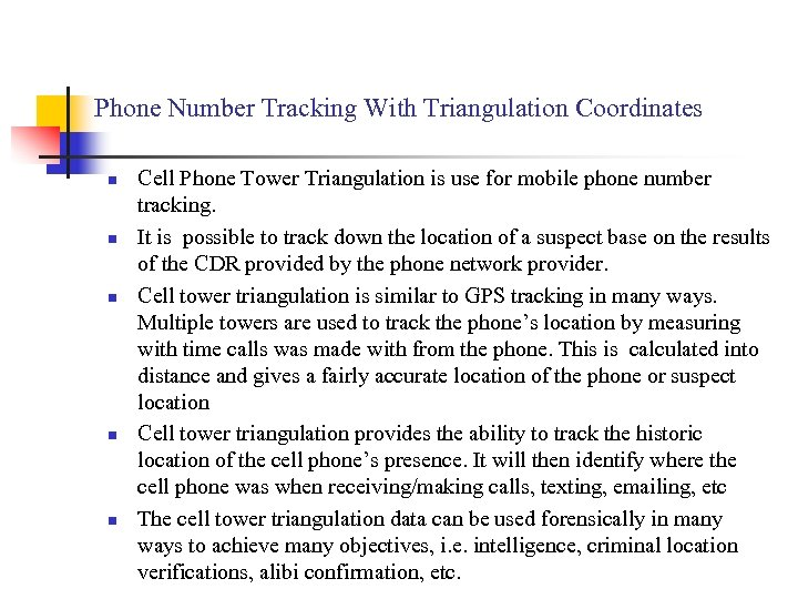 Phone Number Tracking With Triangulation Coordinates n n n Cell Phone Tower Triangulation is