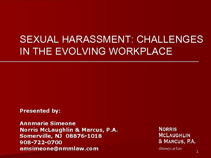 SEXUAL HARASSMENT: CHALLENGES IN THE EVOLVING WORKPLACE Presented by: Annmarie Simeone Norris Mc. Laughlin
