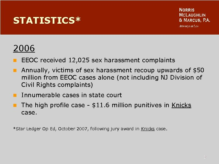 STATISTICS* 2006 n EEOC received 12, 025 sex harassment complaints n Annually, victims of
