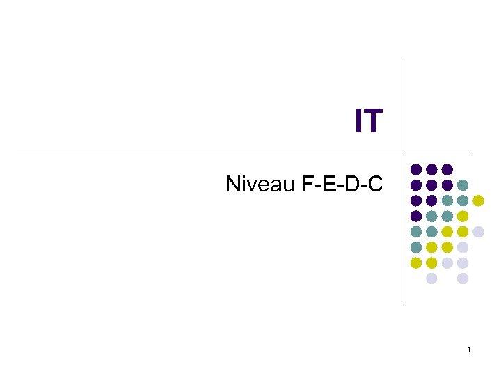 IT Niveau F-E-D-C 1