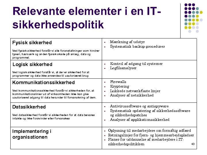 Relevante elementer i en ITsikkerhedspolitik Fysisk sikkerhed Mærkning af udstyr Systematisk backup-procedurer Ved fysisk
