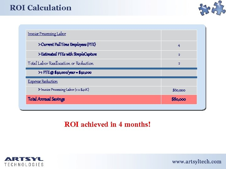 ROI Calculation Invoice Processing Labor ØCurrent Full Time Employees (FTE) 4 ØEstimated FTEs with