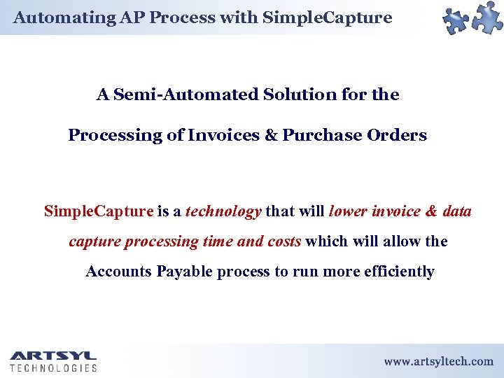 Automating AP Process with Simple. Capture A Semi-Automated Solution for the Processing of Invoices