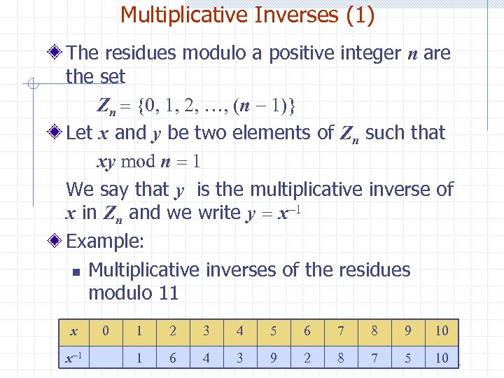 Multiplicative Inverses (1) The residues modulo a positive integer n are the set Zn