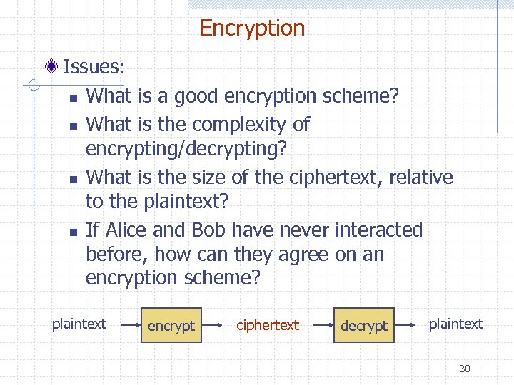 Encryption Issues: n What is a good encryption scheme? n What is the complexity