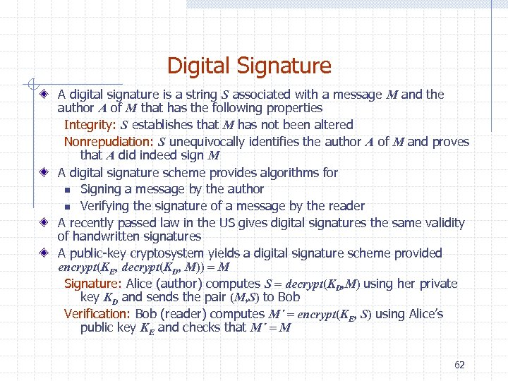 Digital Signature A digital signature is a string S associated with a message M