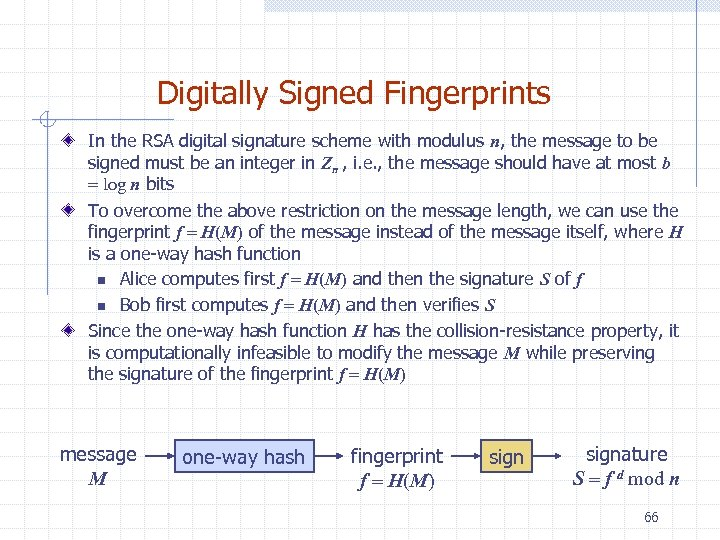 Digitally Signed Fingerprints In the RSA digital signature scheme with modulus n, the message