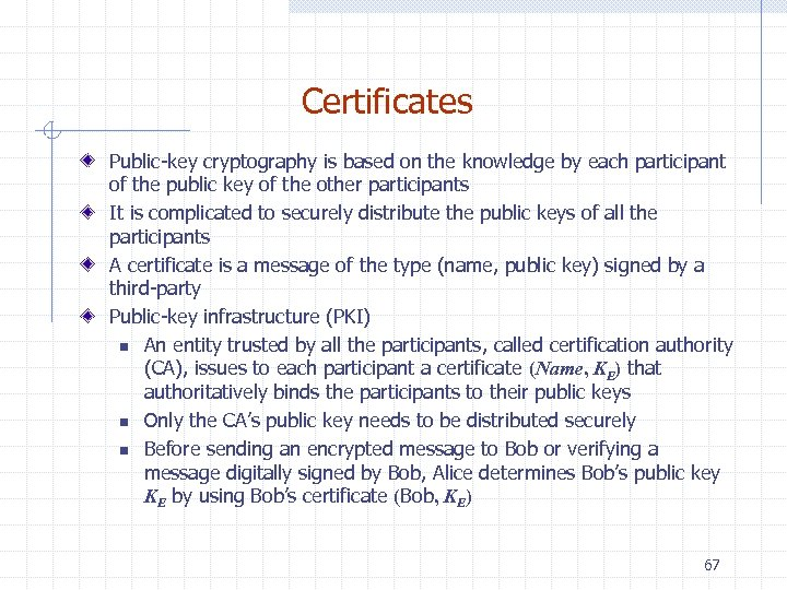 Certificates Public-key cryptography is based on the knowledge by each participant of the public