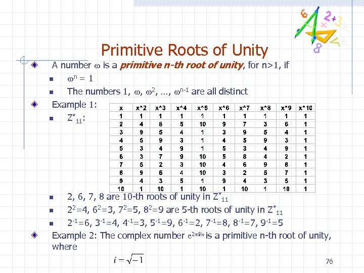 Primitive Roots of Unity A number w is a primitive n-th root of unity,